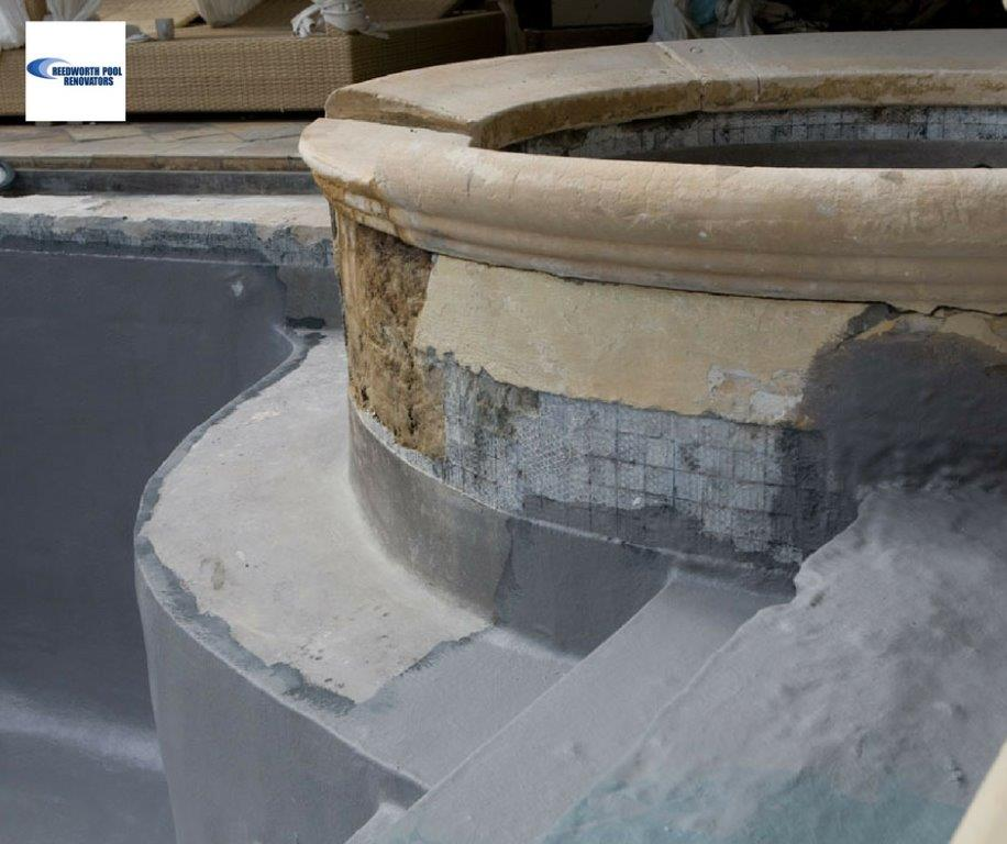 Inverness Existing-pool-mosaic-tiles-removed-during-pool-renovation-of-Infinity-pool-grey-fibreglass-lining-applied