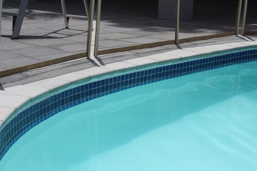 Ceramic tiles applied to the pool band and step area
